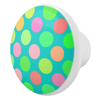 Cute Pink Mint Green Turquoise Polka Dots Pattern Ceramic Knob