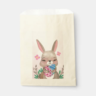 Cute pink Miss Easter bunny and eggs watercolor Favour Bag