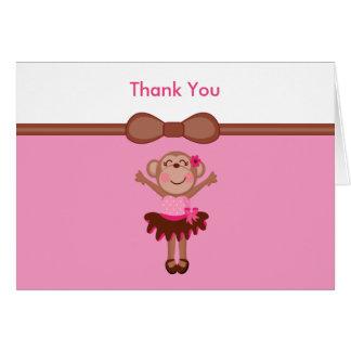 Cute, Pink  Monkey in Tutu Girl Thank You Note Card