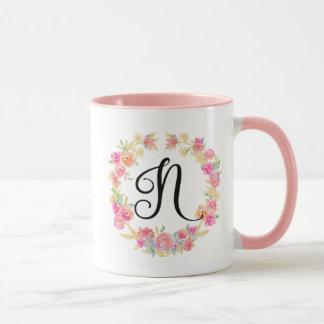 Cute Pink Monogram (N) Flower Wreath Mug