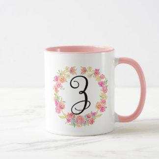 Cute Pink Monogram (Z) Flower Wreath Mug