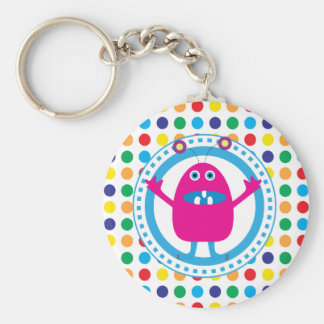 Cute Pink Monster on Polka Dots Basic Round Button Keychain