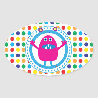 Cute Pink Monster on Polka Dots Oval Sticker