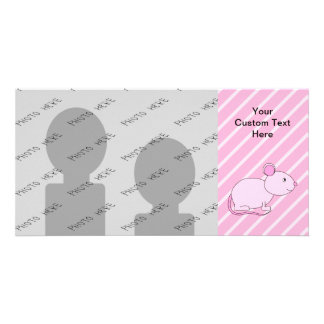 Cute Pink Mouse. Photo Card