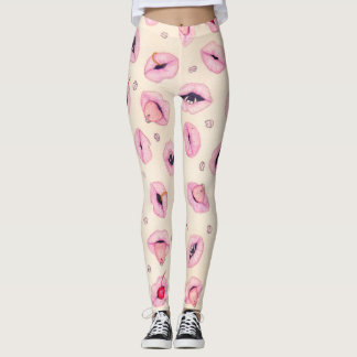 Cute pink mouths / vampire fangs cherry piercing leggings