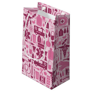 Cute Pink Nurse Doctor Medical Pattern Small Gift Bag