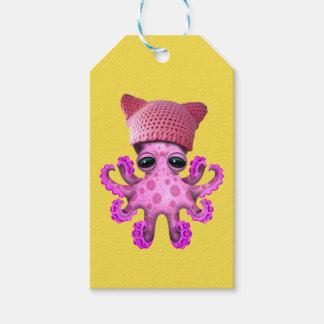 Cute Pink Octopus Wearing Pussy Hat Gift Tags