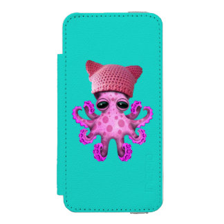 Cute Pink Octopus Wearing Pussy Hat Incipio Watson™ iPhone 5 Wallet Case
