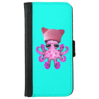 Cute Pink Octopus Wearing Pussy Hat iPhone 6 Wallet Case