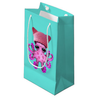 Cute Pink Octopus Wearing Pussy Hat Small Gift Bag