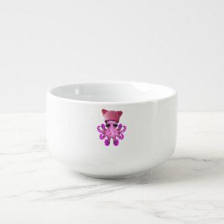 Cute Pink Octopus Wearing Pussy Hat Soup Mug