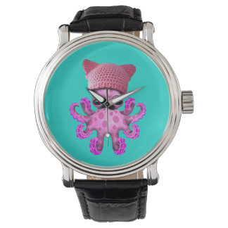 Cute Pink Octopus Wearing Pussy Hat Watch