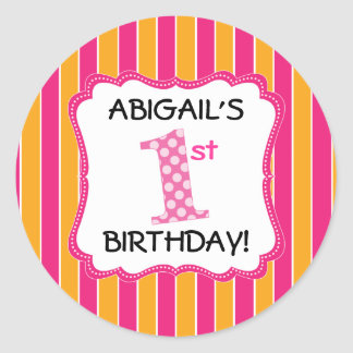 Cute Pink/Orange Girls First Birthday Classic Round Sticker