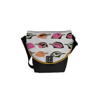 Cute Pink Orange Green Bird Pattern Commuter Bag