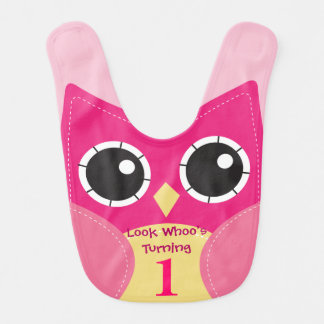 Cute Pink Owl 1st Birthday Baby Bib