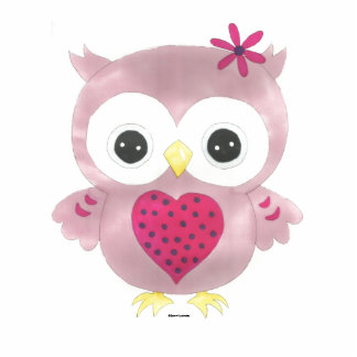 Cute Pink Owl 3D Photo Silhouette Standing Photo Sculpture