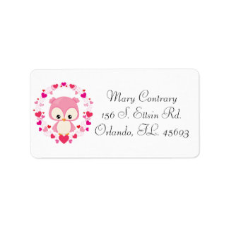 Cute Pink Owl Address Labels