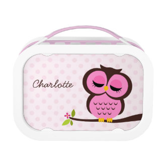 Cute Pink Owl and Polka Dots Personalized Lunch Boxes