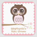 Cute Pink Owl Baby Shower for a Girl Square Sticker