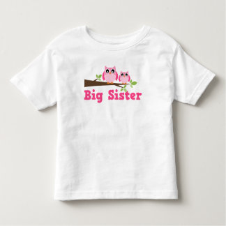 Cute Pink Owl Branch Big Sister Toddler T-shirt
