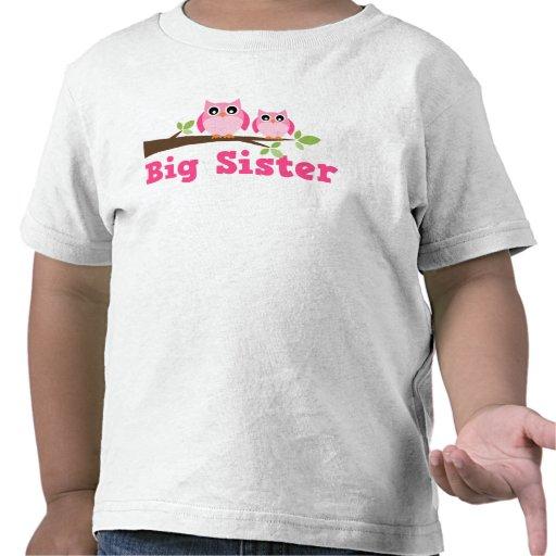 Cute Pink Owl Branch Big Sister Tees