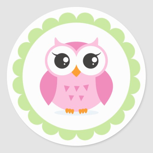 Cute pink owl cartoon inside green border round sticker