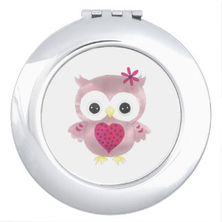 Cute Pink Owl Compact Mirror