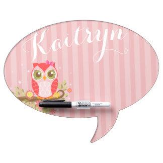 Cute Pink Owl - Custom Speech Bubble Message Board