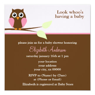 """Cute Pink Owl Girl Baby Shower 5.25"""" Square Invitation Card"""