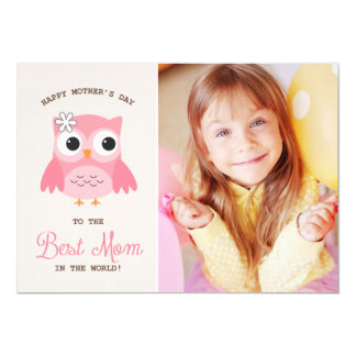 "Cute Pink Owl | Happy Mother's Day Card 5"" X 7"" Invitation Card"