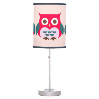 Cute Pink Owl Illustration Table Lamp