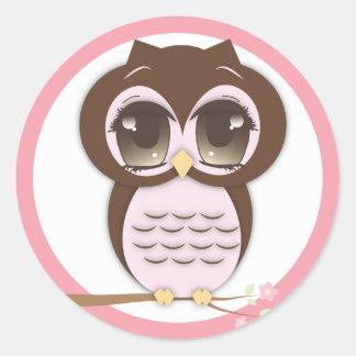 Cute Pink Owl Lil Girl Classic Round Sticker