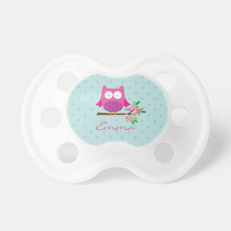 Cute Pink Owl on a Branch Tree Pacifier