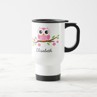 Cute, pink owl on branch personalized name travel mug