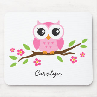 Cute pink owl on floral branch personalized name mouse pad