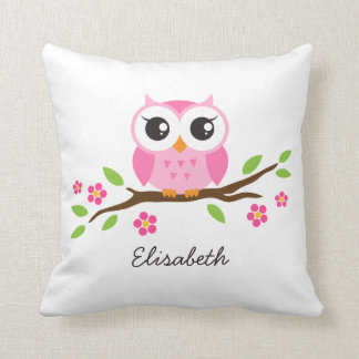 Cute pink owl on floral branch personalized name pillows