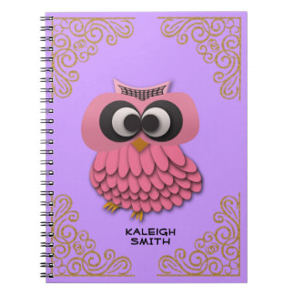 Cute Pink Owl on Purple Gold Personalized Notebook
