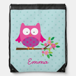 Cute Pink Owl Personalized Drawstring Backpack