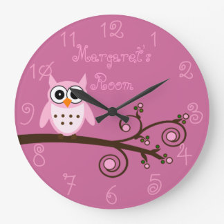 Cute Pink Owl Personalized Girl's Room Wallclock