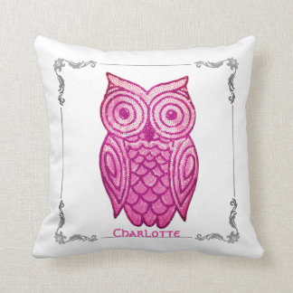 Cute Pink Owl Personalized Name Sequins Silver Throw Pillow