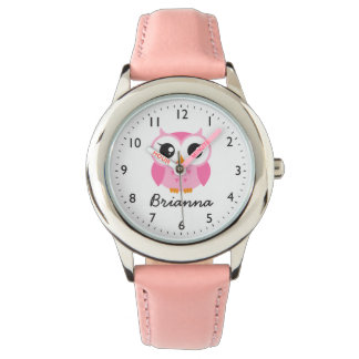 Cute pink owl personalized name watch