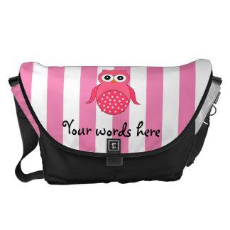 Cute pink owl stripes messenger bags