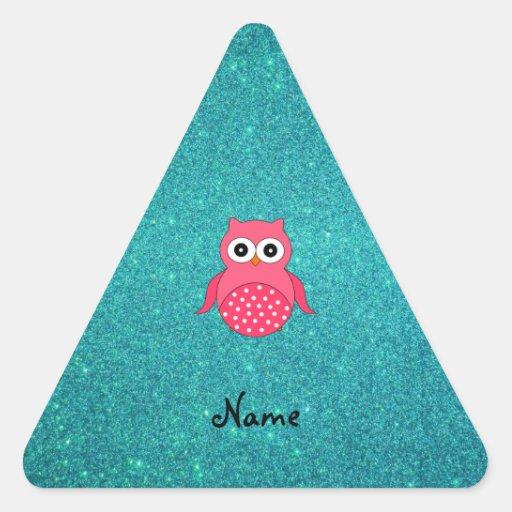 Cute pink owl turquoise glitter triangle sticker