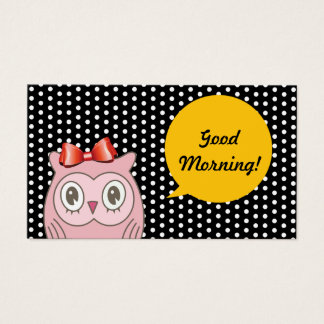 Cute Pink Owl White Spots Teacher Business Card