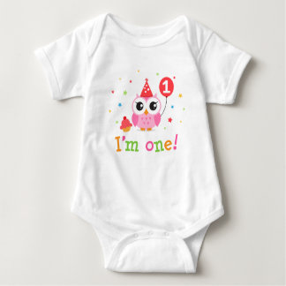 Cute, pink owl with balloon and cupcake I am one Baby Bodysuit
