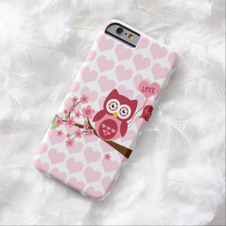 Cute Pink Owl with Hearts Barely There iPhone 6 Case