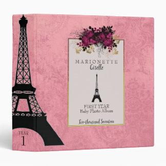 Cute Pink Paris French Eiffel Towel Baby Album 3 Ring Binder