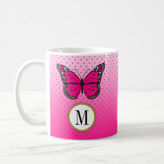 Cute Pink Pastel Ombre & Dots Butterfly Monogram Coffee Mug