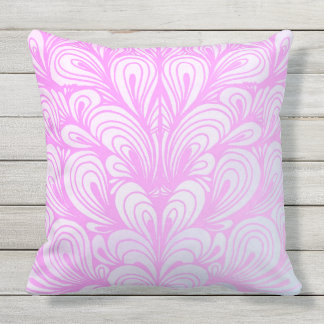 Cute Pink Patterned Outdoor Throw Pillow Cushion