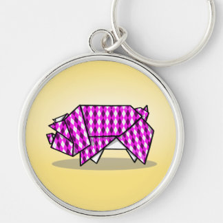 Cute Pink Patterned Paper Pig Silver-Colored Round Keychain